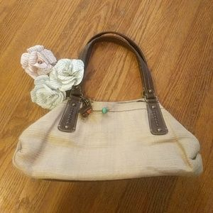 Fossil genuine classic straw  and leather purse